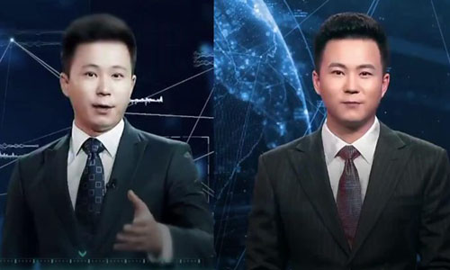 An image of a news anchor and an AI version of him next to him.